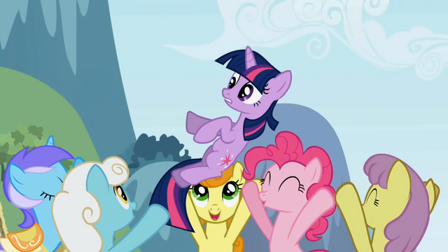 File:Twilight being carried by ponies S1E3.png