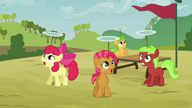 File:Apple Bloom and Babs balancing plates S3E08.png