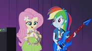 Fluttershy asks if the Rainbooms can play her song EG2