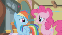Rainbow Dash turns to look at Pinkie Pie S1E05