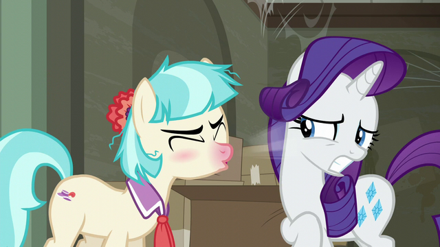 File:Coco Pommel sneezing in Rarity's face S6E9.png