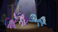 Trixie pointing a hoof at Twilight S6E6