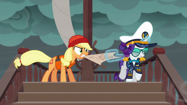 File:Applejack and Rarity fight over the map S6E22.png
