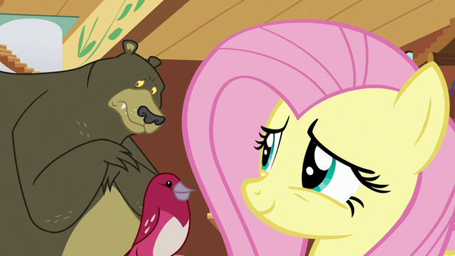 File:Fluttershy smiling at lonely Harry S7E5.png