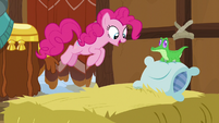 Pinkie Pie jumping on a yak bed of hay S7E11