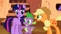 Twilight, Applejack, and Spike S02E06