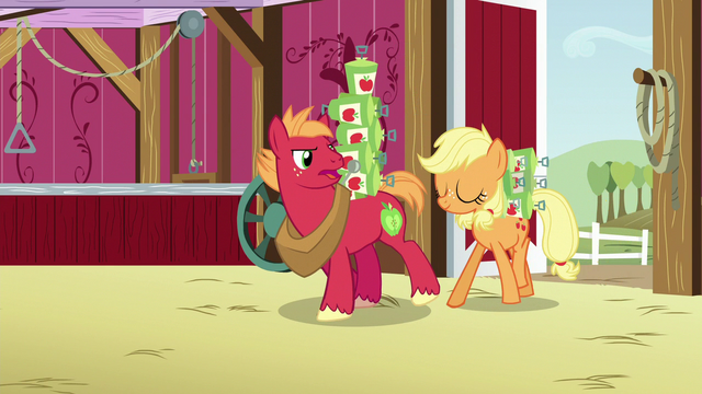 File:Applejack and Big Mac carrying blight spray cans S6E23.png