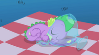 Spike curled up in punch bowl S1E24