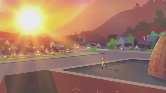 File:Sunset on the Canterlot High School roof EG2.png