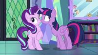 Twilight and Starlight hear a knock at the door S7E14