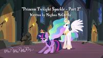 Twilight slides in front of Princess Celestia S4E02