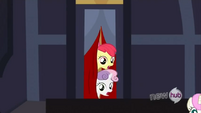 Apple Bloom and Sweetie Belle's heads S3E4