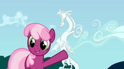 Cheerilee pointing to Discord statue S02E01.png