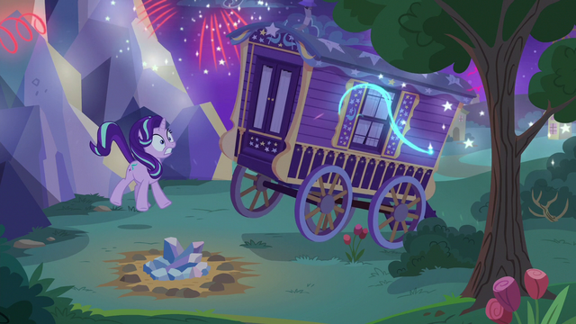 File:Fireworks going off in Trixie's wagon S6E25.png