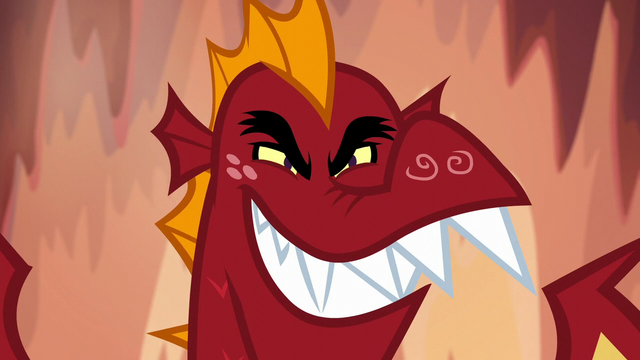 File:Garble grinning sinisterly S6E5.png