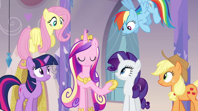 File:Twilight, Cadance, and friends in the spa S03E12.png