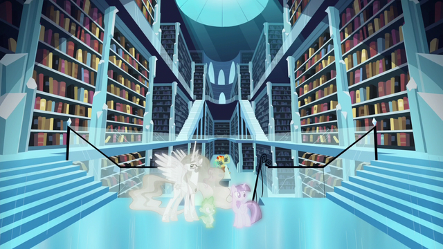 File:Twilight, Celestia, and Spike in Crystal Empire simulation S7E1.png