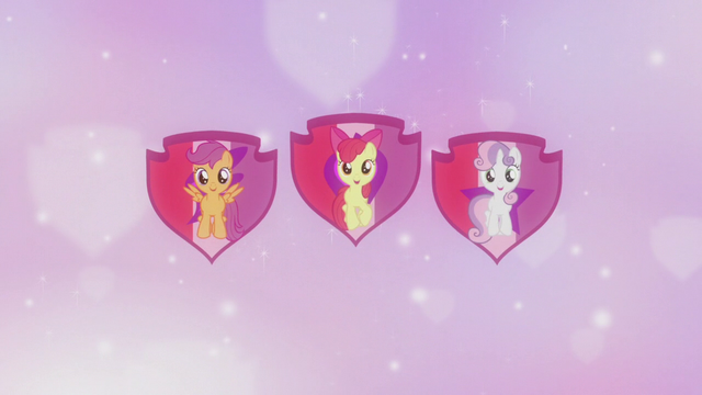 File:Crusaders on shield cutie mark backdrop S5E18.png