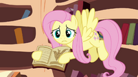 Fluttershy trying to get her friends to see the book S3E05