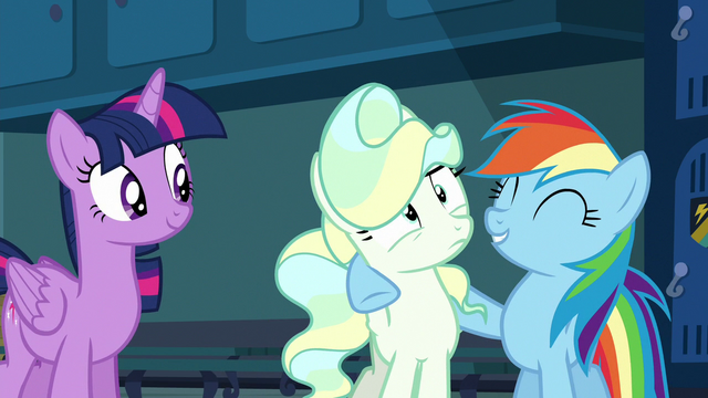 File:Rainbow puts a hoof around Vapor Trail S6E24.png