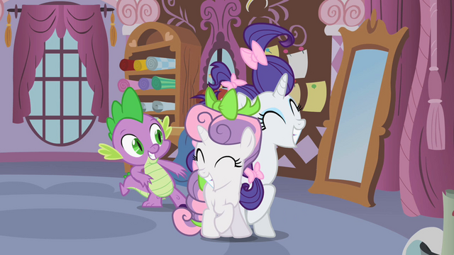 "File:Rarity and Sweetie Belle reconcile ""deal!"" S02E05.png"