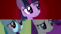 Twilight, Rainbow and Rarity dismayed S2E21