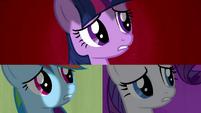 Twilight, Rainbow and Rarity dismayed S2E21