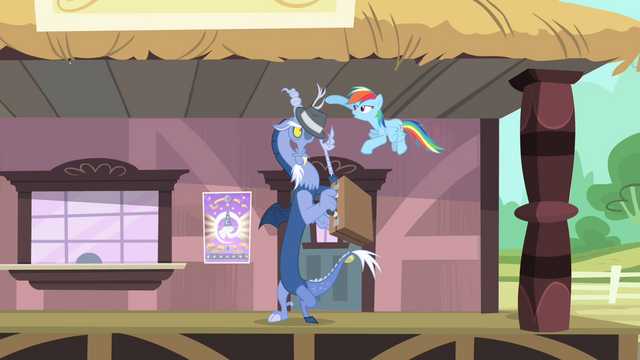 File:Rainbow gives Discord a hat and a briefcase S4E11.png