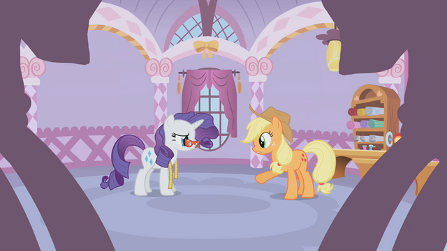 File:Applejack and Rarity talk about the dress S1E14.png