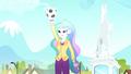 Celestia holding Rainbow Dash's soccer ball SS8.png