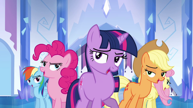 File:Main ponies cheer formation S03E12.png