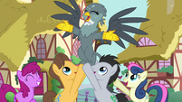 Ponyville ponies holding up Gabby S6E19