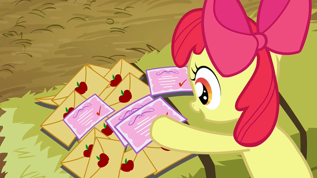 File:Apple Bloom sorts through the invitations S3E8.png