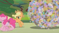 Applejack watches Pinkie gallop away S1E10