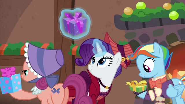File:Earth mare, Merry, and Snowdash receiving presents S6E8.png