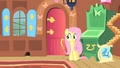 Fluttershy apprehensively approaches the door S1E22.png