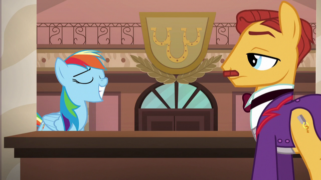 File:Rainbow grins smugly at hotel clerk S6E13.png