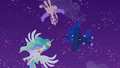 Celestia, Luna, and Cadance hover over Twilight S4E25.png