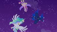 Celestia, Luna, and Cadance hover over Twilight S4E25