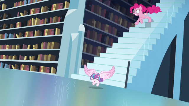 File:Flurry Heart flying down the stair while Pinkie chases her S6E2.png