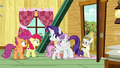 Rarity and Sweetie Belle hugging in the clubhouse S7E6.png