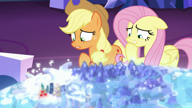 File:AJ and Fluttershy worried about going to Las Pegasus S6E20.png
