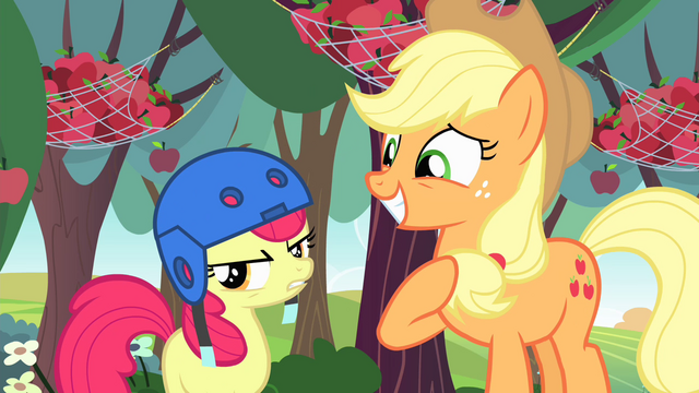 File:Applejack smiling and Apple Bloom frustrated S4E17.png