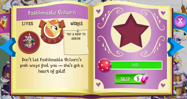 File:Fashionable Unicorn album page MLP mobile game.png