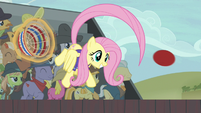 Fluttershy flings the ball back to Pinkie S6E18