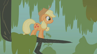 Tiny Applejack in a tree branch S1E09