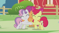 CMC hugging over their cutie marks S5E18