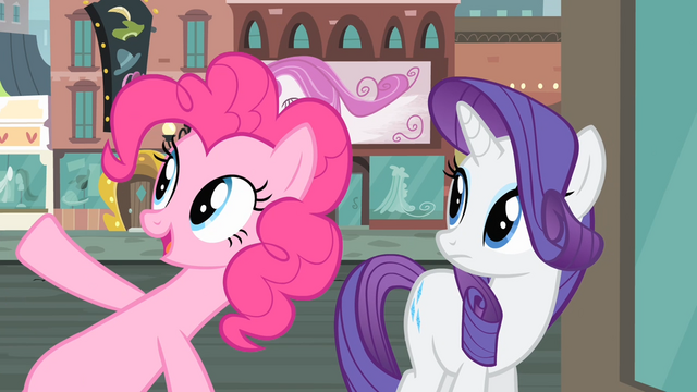 File:Pinkie Pie pointing at the clock S4E08.png