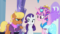 Princess Cadance and Rarity listening to Ms. Harshwhinny S03E12