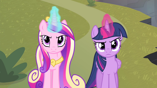 File:Twilight and Cadance looking serious S4E11.png